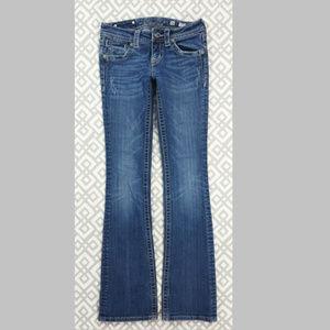 Miss Me Boot Cut Blue Jeans Size 26 Fleur De Lis